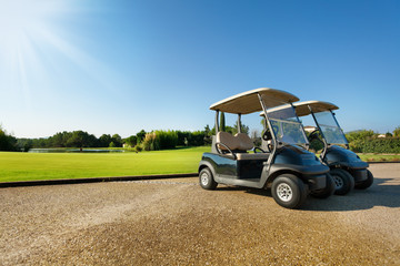 Two golf-carts standing at the parking in summer