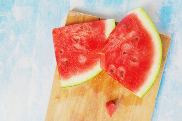 Tasteful fresh watermelon fruit slices on the table