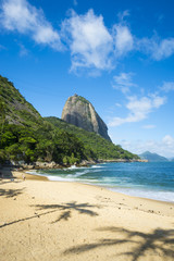 Scenic afternoon view of Praia Vermelha Red Beach with Sugarloaf Mountain in Rio de Janeiro, Brazil