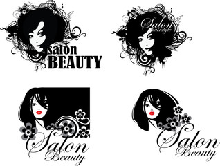 symbol face girl, emblem hairstyle, templates for beauty salon, beauty woman face