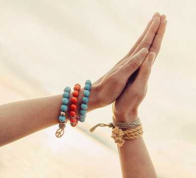 Female hands together