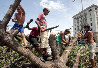 Cuban kids use machetes to hack away uprooted trees after Hurricane Charley hit Cuba.