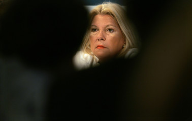 Presidential candidate Elisa Carrio of Civic Coalition party attends the launching of her education plan in Buenos Aires
