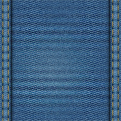 Blue Denim Texture. Edges of the Texture are Stitched by Threads.