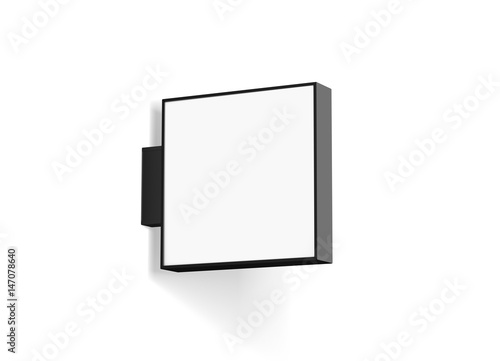 Blank Store Signage Design Mockup Isolated 3d Rendering Empty Square Light Box Mock Up