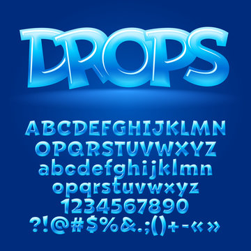 Vector candy blue letters, symbols and numbers. Contains graphic style