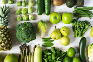 Top view of green fruits and vegetables
