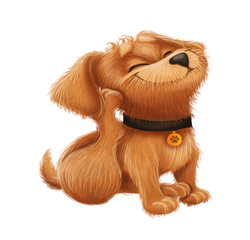 Cute Little Furry Puppy - Cartoon Animal Character Sitting and Scratching Perky Ears - Hand-Drawn Animated Mascot for Illustration, Magazine, Children's Book, Cover, Invitation, Greeting or Post Card