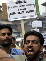 A Kashmiri activist shouts anti-US slogans in Srinagar.