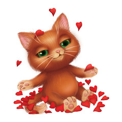 Cute Smiling Furry Kitten Fell in Love Amid Fluttering Red Rose Petals - Green-Eyed Hand-Drawn Cartoon Animal Character for Greeting or Post Card, Banner, Gift Card, Poster or Booklet