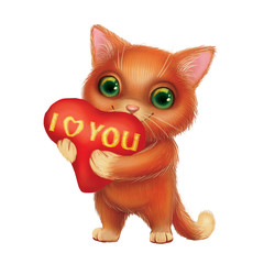 Cute Smiling Furry Kitten Holding Heart Sign with I Love You Confession of Feelings - Green-Eyed Hand-Drawn Cartoon Animal Character for Greeting or Post Card, Banner, Gift Card, Poster or Booklet