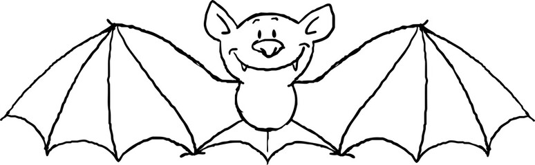 flying bat cartoon isolated on white - black and white vector illustration