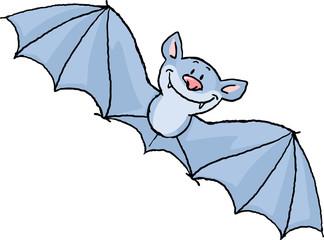 flying bat cartoon isolated on white - vector illustration