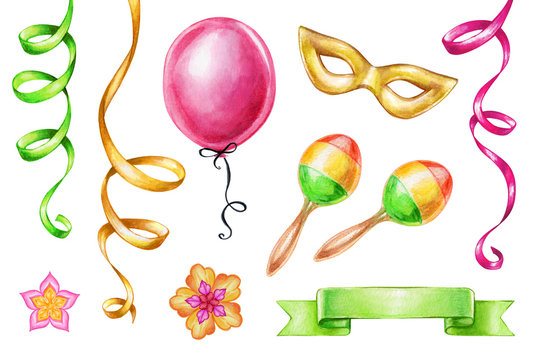watercolor illustration, carnival, party design elements isolated on white background, serpentine, maracas, ribbon tag, mask, balloon, birthday clip art set