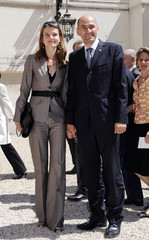 Slovenia's Prime minister Janez Jansa and wife arrive at the Hotel Marigny in Paris