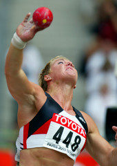 KUMBURNUSS OF GERMANY COMPETES IN SHOT PUTT QUALIFICATION DURING THE9TH WORLD ATHLETICS ...