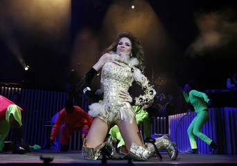 Mexican singer Gloria Trevi performs during a concert at the Arena Monterrey in Monterrey