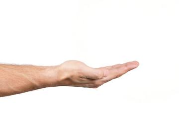 Dłoń wykonująca gest na białym tle