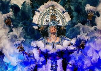 Dancer performs during carnival celebrations in Santa Cruz de Tenerife