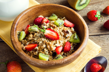 Homemade granola with fruits