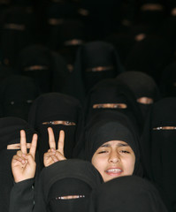 Women shout slogans during a rally in Sanaa against the recent reproduction of cartoons depicting Prophet Mohammad by Danish newspapers