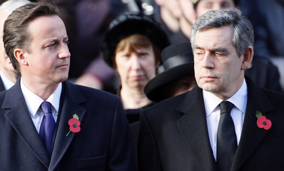 Britain's Prime Minister Brown and Conservative Party Leader Cameron attend annual Remembrance Sunday ceremony in London