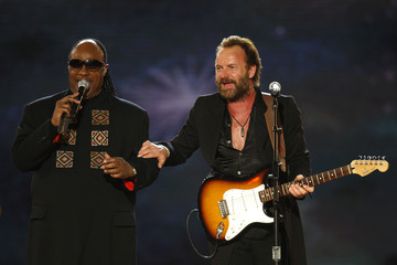 Sting and Stevie Wonder perform at the Neighborhood Ball in Washington