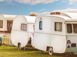 Row of three vintage restored caravans
