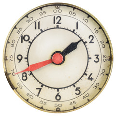 Vintage clock face with red and black hands