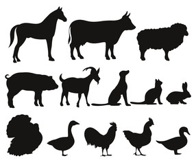 set of silhouettes of farm animals