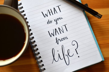 "Quote on notepaper ""WHAT DO YOU WANT FROM LIFE?"" Wall mural"