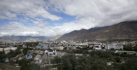 Lhasa is pictured from the top of the Potala monastery