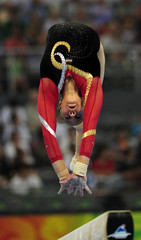 Sherine El Zeiny of Egypt competes in the women's qualification balance beam during the artistic gymnastics competition at the Beijing 2008 Olympic Games