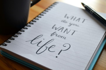 """Quote on notepaper """"WHAT DO YOU WANT FROM LIFE?"""""""