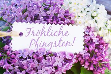 Pfingsten, Fröhliche Pfingsten, Flieder, Schild, Schrift, Text