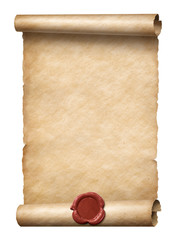 old scroll with red wax seal 3d illustration