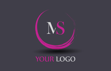 MS Letter Logo Circular Purple Splash Brush Concept.