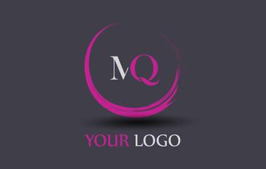 MQ Letter Logo Circular Purple Splash Brush Concept.