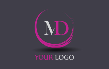 MD Letter Logo Circular Purple Splash Brush Concept.