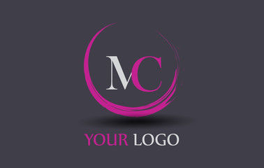 MC Letter Logo Circular Purple Splash Brush Concept.