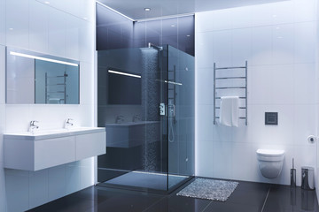 Black and white modern shower room in the evening
