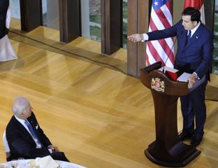 Georgia's President Mikheil Saakashvili speaks as he meets U.S. Vice President Joe Biden in Tbilisi