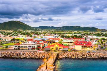 Basseterre, St. Kitts and Nevis port at dusk.
