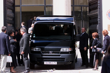 VAN CARRYING THE REMAINS OF DAUGHTER OF LATE SHAH OF IRAN LEILA PAHLAVI ARRIVES FOR FUNERAL.