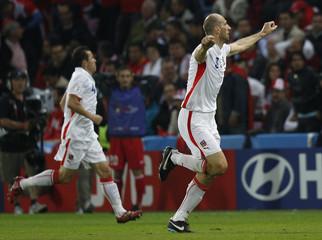 Czech Republic's Koller celebrates his goal during their Group A Euro 2008 soccer match against Turkey at Stade de Geneve stadium in Geneva