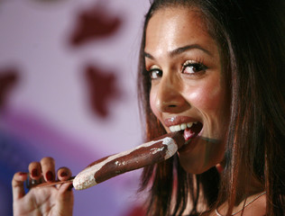 Bollywood actress Khan poses for a picture during a promotional event for an ice-cream company in New Delhi