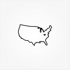 USA map line icon