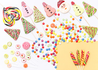 Lollipops sweets. Candy, top view flat lay on background. Sweet sucker, lollipop, candy, food background