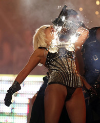 Lady Gaga performs as pyrotechnics go off from her bustier during the 2009 MuchMusic Video Awards in Toronto