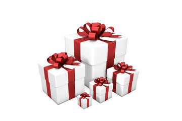 3d illustration: Five white gift boxes from small to large in order of size  with red silk ribbon / bow and tag on a white background isolated.